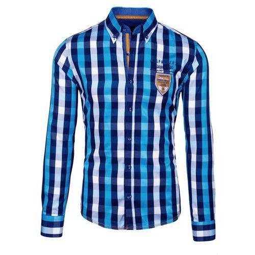 Turkusowa koszula męska w kratę z długim rękawem Bolf 1766 - TURKUSOWY