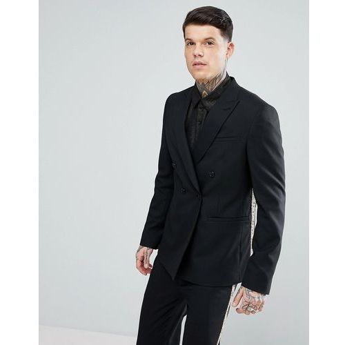 Asos skinny double breasted suit jacket in black with gold brocade detail - black, Asos design