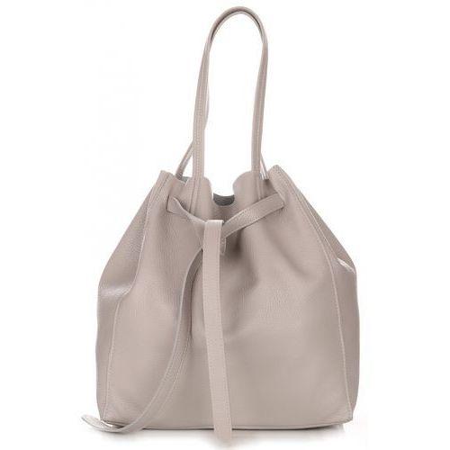 Włoskie Torebki Skórzane ShopperBag z Kosmetyczką firmy Genuine Leather Jasno Szara (kolory)