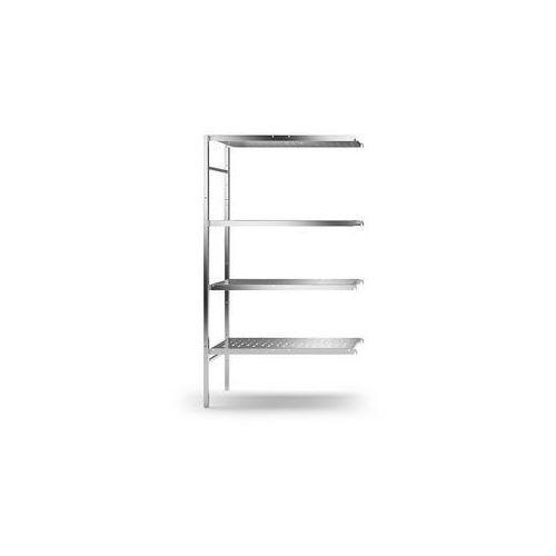 Kek Regał wtykowy ze stali szlachetnej, 4 perforowane półki,szer. półki x gł. 940 x 440 mm
