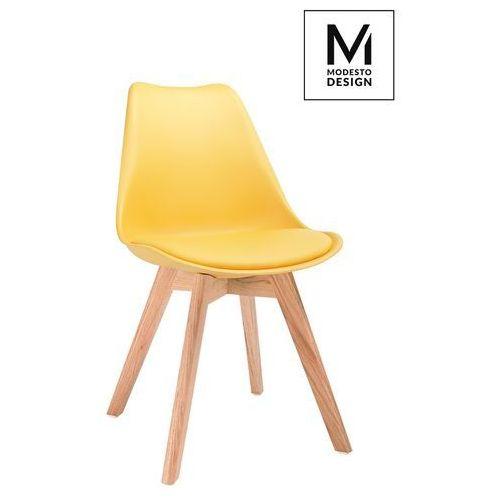 MODESTO krzesło NORDIC żółte - podstawa dębowa
