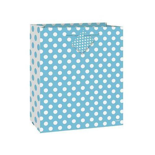 Torebka prezentowa błękitna w białe kropeczki 32x27 cm - 1 szt. marki Unique