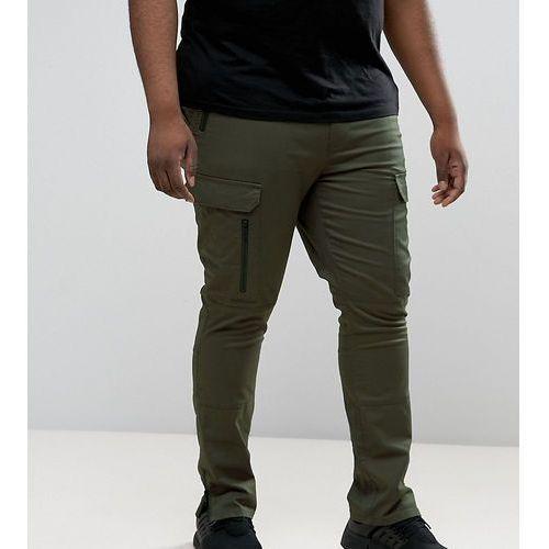 ASOS PLUS Super Skinny Fit Trousers with Zip Cargo Pockets in Khaki - Green, kolor zielony