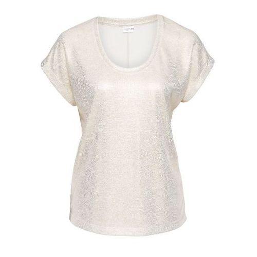 T-shirt z metalicznym połyskiem biel wełny marki Bonprix