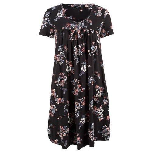 Sukienka z dżerseju z paskiem bonprix kobaltowy w kropki, kolor wielokolorowy