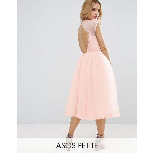 ASOS PETITE PREMIUM Lace Tulle Midi Prom Dress - Beige, kolor beżowy