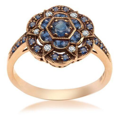 Kolekcja Wiktoriańska - pierścionek z diamentami i szafirami