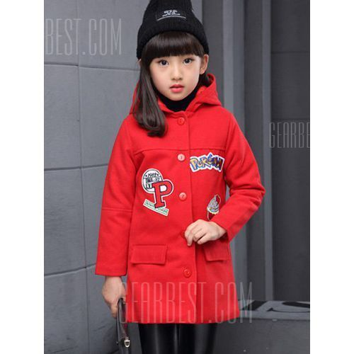 Applique Embroidered Hairball Double Breasted Hooded Woolen Coat