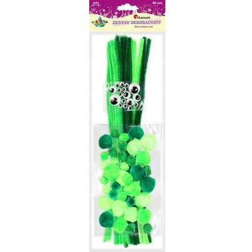 Druciki kreatywne pompony oczka 80el craft-fun - zielone marki Titanum