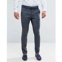 skinny fit linen suit trousers in navy - blue, New look