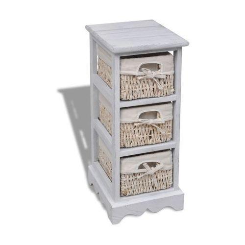 vidaXL Drewniana szafka z 3 wyplatanymi koszykami, biała (8718475862406)