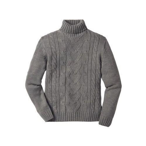 Sweter z golfem szary melanż, Bonprix, S-M