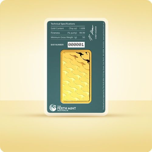 50 g sztabka złota certicard marki Pamp, perth mint, argor-heraeus