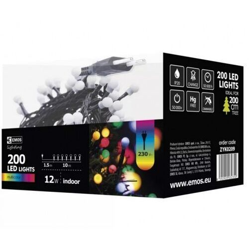 zyk0209 Lampki choinkowe 200 LED cherry 10m IP20 multikolor, ziel
