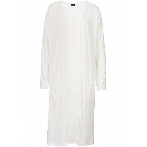 Długi sweter bez zapięcia bonprix biel wełny, bawełna