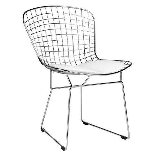 King home Krzesło metalowe net soft srebrne - stal chromowana, biała poduszka (5900168810747)