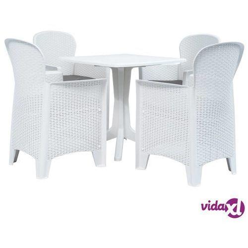 vidaXL 5-częściowy zestaw mebli ogrodowych, plastikowy, biały, vidaxl_276156