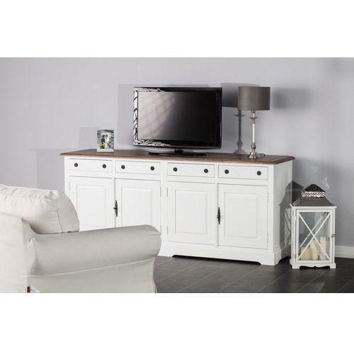 Dekoria  komoda aston 4 drzwi + 4 szuflady, white&natural 190x48x80cm, 190x48x80cm