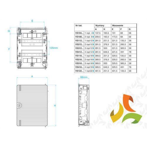 Hager Rozdzielnica,rozdzielnia elektryczna 24 moduły natynkowa tworzywo, drzwi transparentne vs212td