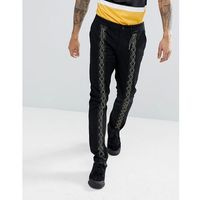 slim trousers with lace up detail in black - black, Asos