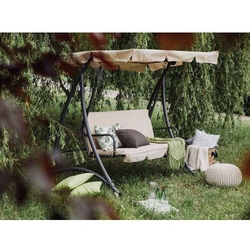 Beliani Huśtawka beżowa - meble ogrodowe - stal - ławka - temple