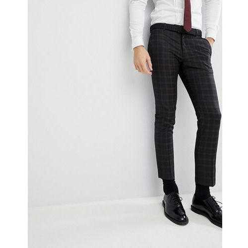 River island wedding skinny fit suit trousers in black check - black