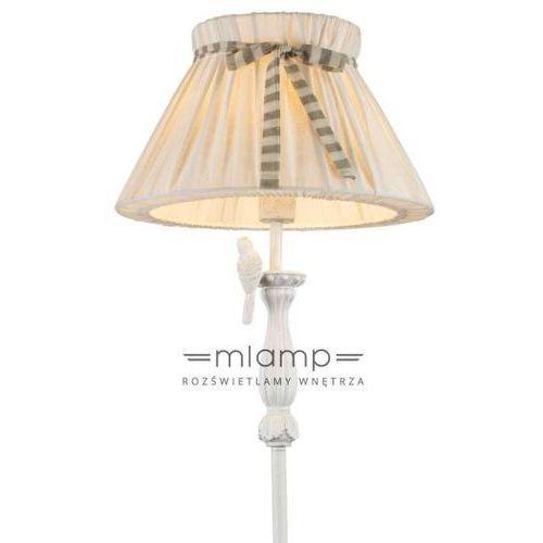 Globo Lampa podłogowa savio 69027s abażurowa oprawa stojąca ptak bird wstążka biały przecierany ecru (9007371338375)