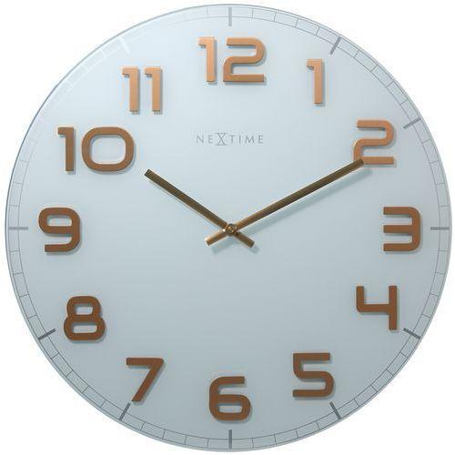 Zegar Nextime Classy 30 cm white&copper, 8817 wc