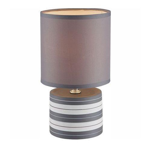 Lampka biurkowa laurie 21660  abażurowa lampa stołowa ip20 okrągły paski szary marki Globo