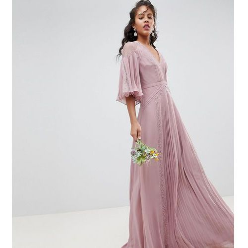 Asos design tall bridesmaid pleated panelled flutter sleeve maxi dress with lace inserts - pink marki Asos tall