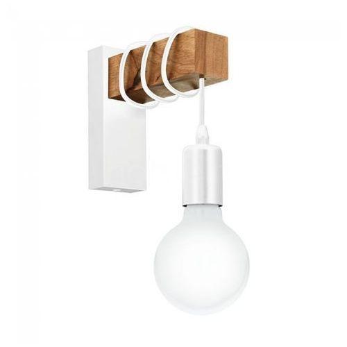 Kinkiet LAMPA ścienna TOWNSHEND 33162 Eglo rustykalna OPRAWA przewód żarówka loft drewno biała (9002759331627)