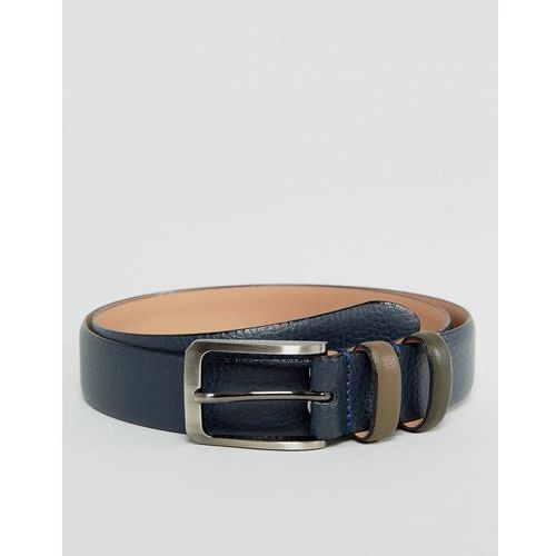 shrubs belt in leather with contrast keeper - navy marki Ted baker