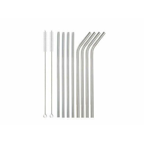 Słomki rurki srebrne ze stali nierdzewnej - 10 elementów marki Iso