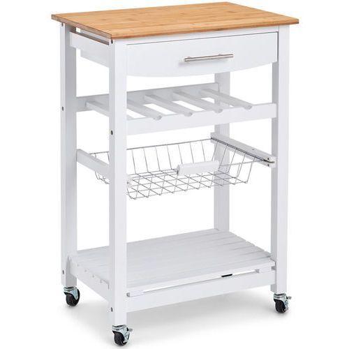 Zeller Mobilny barek kuchenny w kolorze białym, drewniany barek kuchenny, wózek kuchenny na kółkach, regał biały, regał na kółkach,