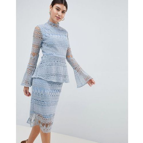 Prettylittlething lace bell sleeve midi dress - blue