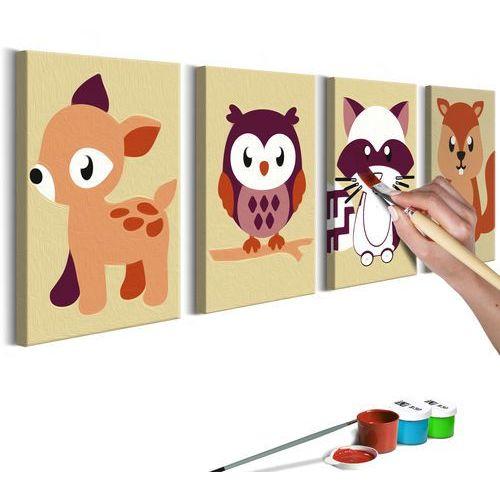 Obraz do samodzielnego malowania - Leśne zwierzątka bogata chata, A0-MAD_0012_XL