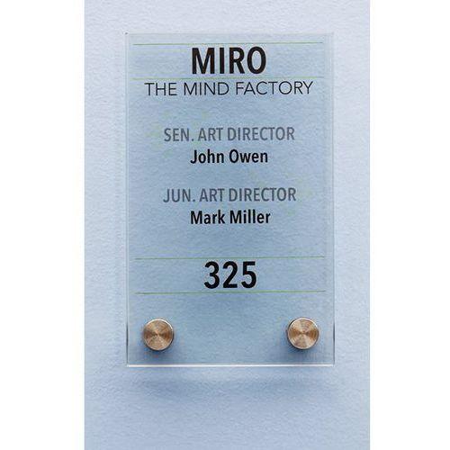Moedel Tabliczka na drzwi, z bezpiecznego szkła esg, opak. 2 szt., szer. x wys. 100x160