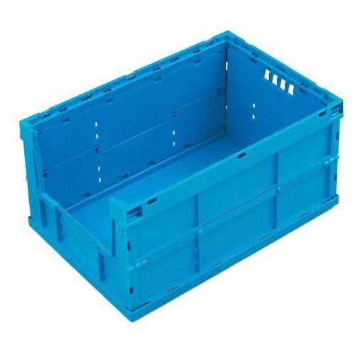 Pojemnik składany z polipropylenu, poj. 63 l, bez pokrywy, niebieski, zamknięte