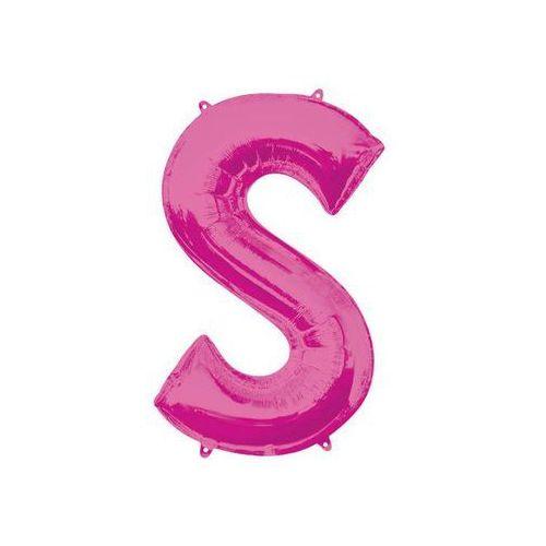 Balon foliowy różowa litera S - 53 x 88 cm - 1 szt.