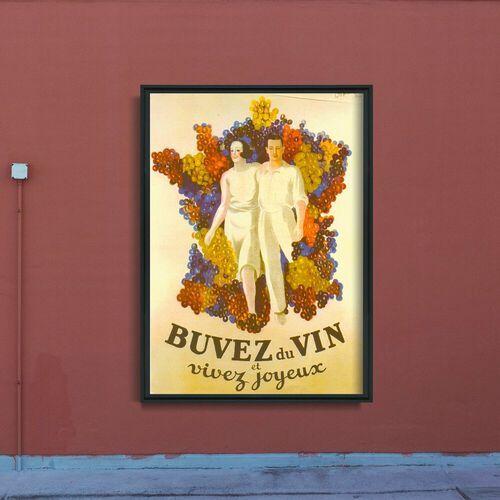 Plakat retro do salonu Plakat retro do salonu Francuskie wino plakat wina Decor