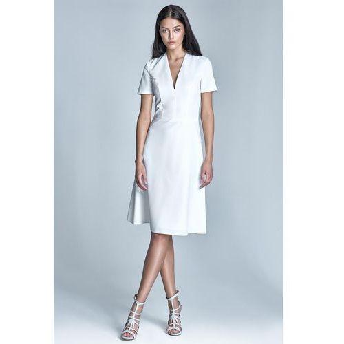 Nife Elegancka ecru sukienka midi z głębokim dekoltem w szpic