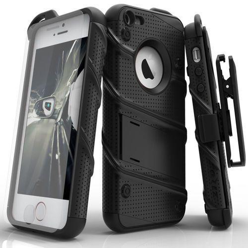 Zizo Bolt Cover Etui Pancerne iPhone SE / 5S / 5 (Black) + Szkło Hartowane Na Ekran