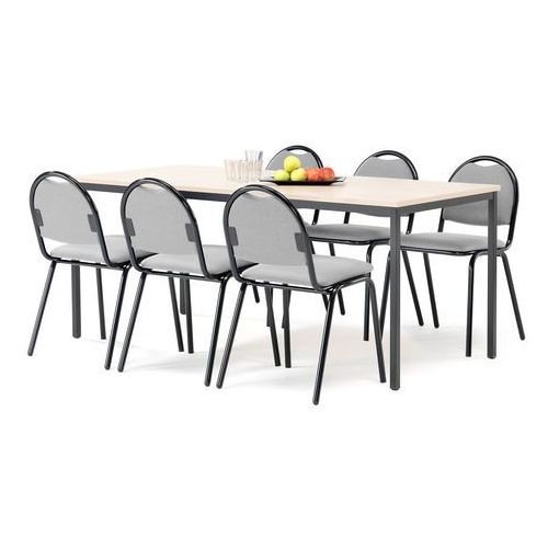 Zestaw mebli do stołówki, stół 1800x800 mm, brzoza + 6 krzeseł, szary/czarny marki Aj produkty