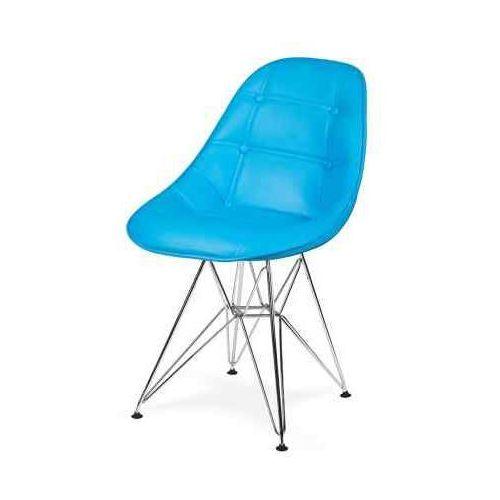 King home Krzesło eko silver jasny niebieski t28 - ekoskóra, podstawa metalowa chromowana