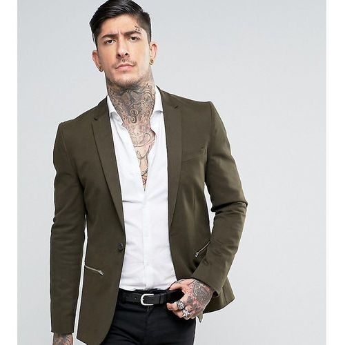 Religion Super Skinny Suit Jacket with Zip Detail - Green, kolor zielony