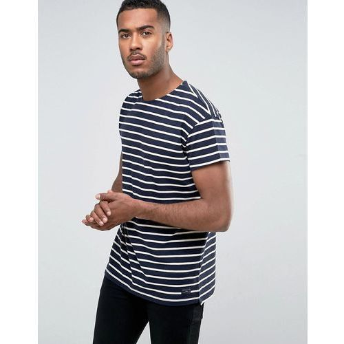 Selected Homme T-Shirt in Oversized Fit with Stripe Organic Cotton - Navy, bawełna