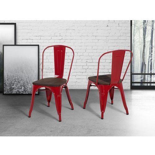 Krzesło czerwone - drewno - do jadalni - kuchenne - APOLLO, kolor czerwony