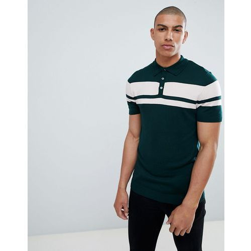River Island Muscle Fit Knitted Polo In Green Colour Block - Green, w 2 rozmiarach