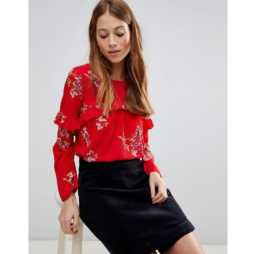 QED London Long Sleeve Floral Top With Frill - Red, kolor czerwony