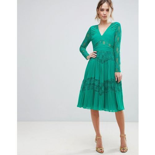 pleated lace insert midi dress - green, Asos